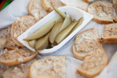 Slices of bread with home-made lard Royalty Free Stock Images