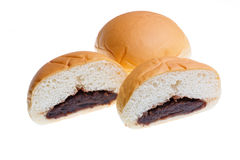 Slices of bread inside are red bean isolated, with clipping path Stock Images