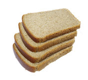 Slices of bread isolated. Slices of dark bread isolated over white Royalty Free Stock Photos