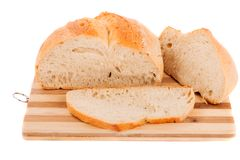 Slices of bread isolated on white Stock Image