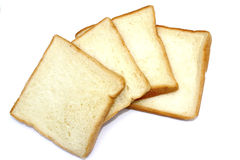 Slices of bread isolated on white background Stock Photos