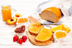 Slices of bread with jam Stock Image