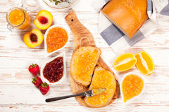 Slices of bread with jam Stock Photo