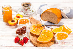 Slices of bread with jam Royalty Free Stock Images