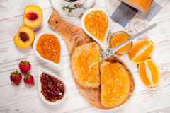 Slices of bread with jam Stock Photography
