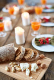 Slices of bread and nuts Royalty Free Stock Photo
