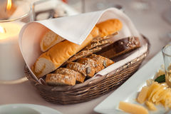 Slices bread in orange basket Royalty Free Stock Images