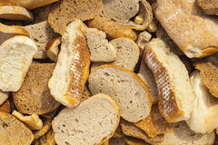 Slices of bread and other baked goods. Stock Photo