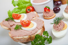 Slices of bread with pate and tomatoes and eggs Royalty Free Stock Photos