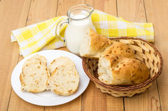 Slices of bread in plate, jug milk and wicker basket Stock Photography