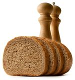 Slices of bread with salt Royalty Free Stock Images