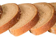 Slices of bread with seeds isolated Royalty Free Stock Photography