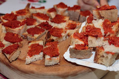 Slices of Bread with Tomato Sauce, Italian Snack Stock Image
