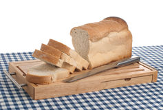 Slices of bread on top of wooden Stock Photos