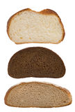 Slices of bread on white Royalty Free Stock Photography