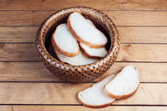 Slices of bread in wicker basket Royalty Free Stock Image