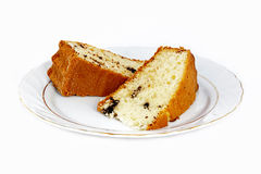Slices of cake. Cake plate isolated on white background Royalty Free Stock Images