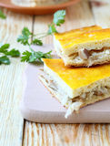 Slices of cake with fried cabbage Royalty Free Stock Photos