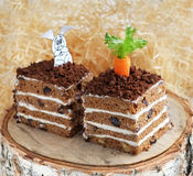 Slices of carrot cake on a stump Royalty Free Stock Photo