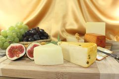 Slices of cheese with figs Stock Images