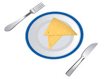 Slices of cheese on plate royalty free stock image