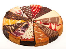Slices of Cheesecake. 14 different slices of cheesecake to make a compleat pie Stock Photo