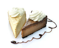 Slices of cheesecakes Royalty Free Stock Images