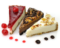 Slices of cheesecakes Royalty Free Stock Photography