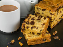 Slices of Cherry Fruit Cake With Tea or Coffee. Black Background Royalty Free Stock Photo