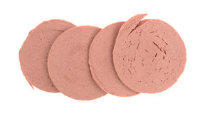 Slices of chicken bologna Stock Images