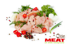 Slices of chicken meat on white background Royalty Free Stock Photography