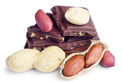 Slices of chocolate and nuts Stock Images