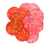 Slices of chorizo salami sausage. Royalty Free Stock Photography