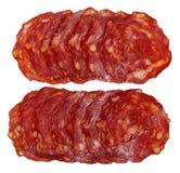 Slices of chorizo sausage Stock Image