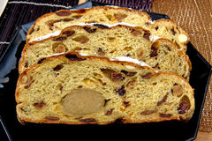 Slices of christmas bread with almon filling Royalty Free Stock Photos