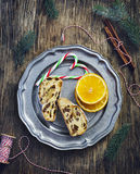 Slices of Christmas stollen. Traditional German festive baking. Royalty Free Stock Photography