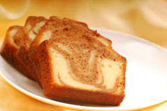 Slices of Cinnamon swirl pound cake Royalty Free Stock Images