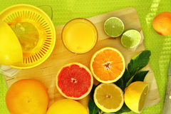 Slices of citrus fruit and a fresh juice Stock Photos