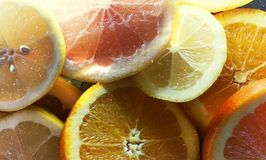 Slices of citrus fruits. Background Royalty Free Stock Images