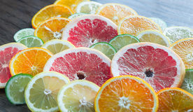 Slices of citrus fruits Stock Image