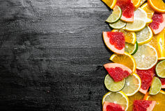 Slices of citrus fruits - grapefruit, orange, tangerine, lemon, lime . Royalty Free Stock Photography