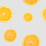 Slices of citrus, lemon, orange wedges seamless pattern  on a background from the squares, a chess background Royalty Free Stock Photos