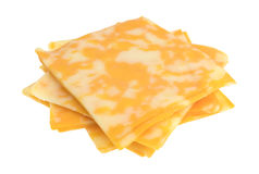 Slices of Colby-Jack cheese on a white background Royalty Free Stock Images