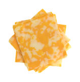 Slices of Colby-Jack cheese on a white background Stock Images