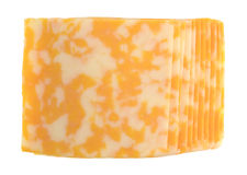 Slices of Colby-Jack cheese on a white background Stock Photo