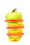 Slices of colorful bell pepper isolated Royalty Free Stock Photography