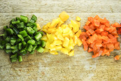 Slices of colorful sweet bell pepper Royalty Free Stock Photos