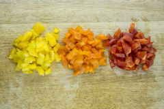 Slices of colorful sweet bell pepper Stock Photos