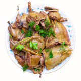 Slices of cooked wild duck on a plate. Royalty Free Stock Photo