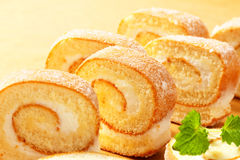 Slices of cream Swiss roll Royalty Free Stock Images